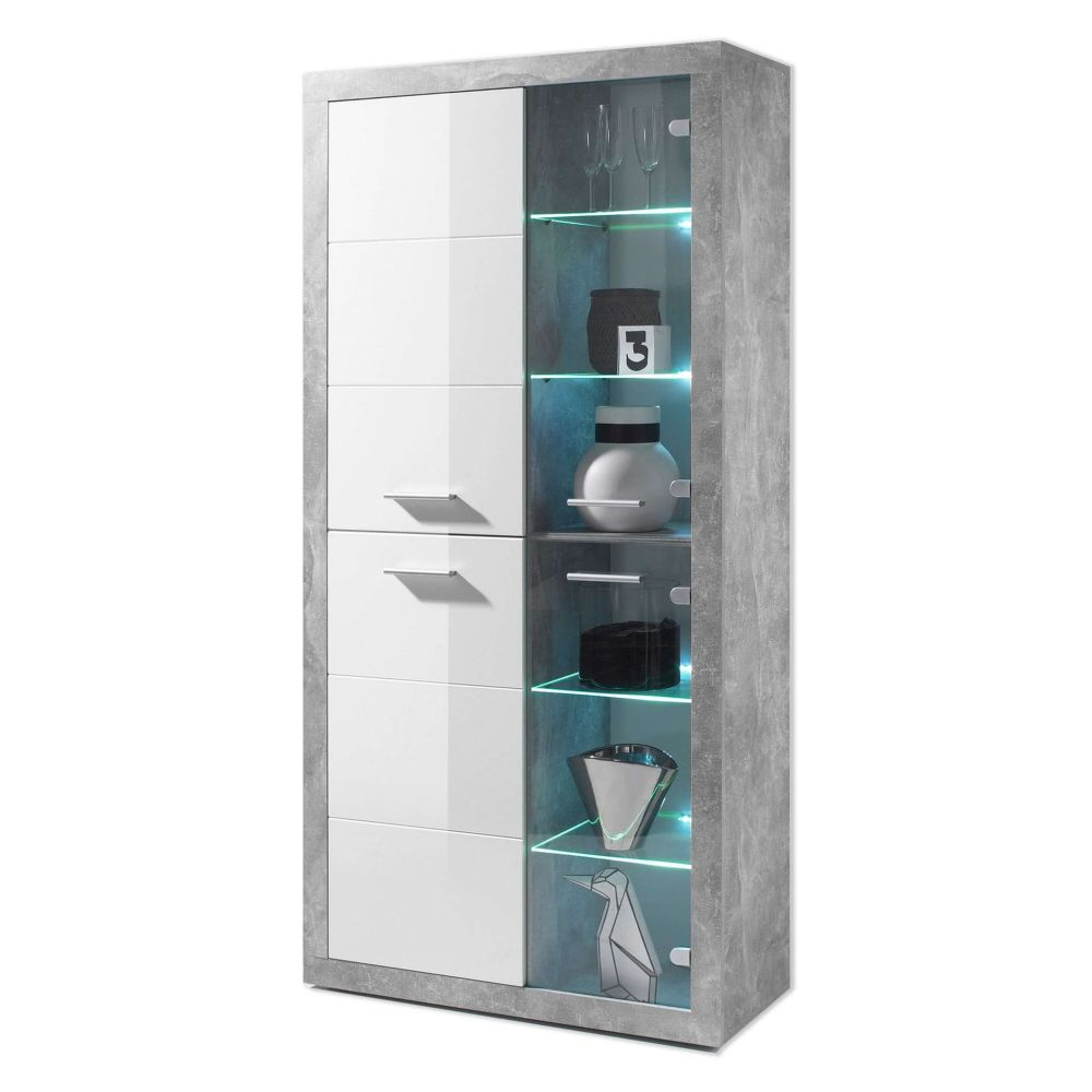 Pietra Tall Display Cabinet in Grey and White Gloss - 2703
